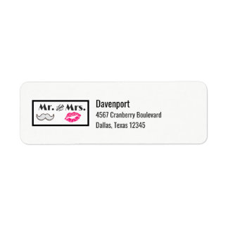 Moustache & Lips Mr. & Mrs Return Address Label