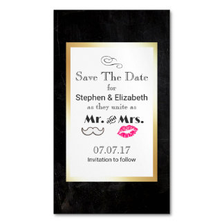 Moustache & Lips Mr. & Mrs. Save the Date Magnetic Business Card