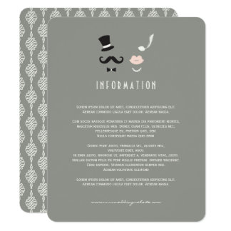 Moustache & Lips Mr & Mrs Vintage Wedding Insert Card
