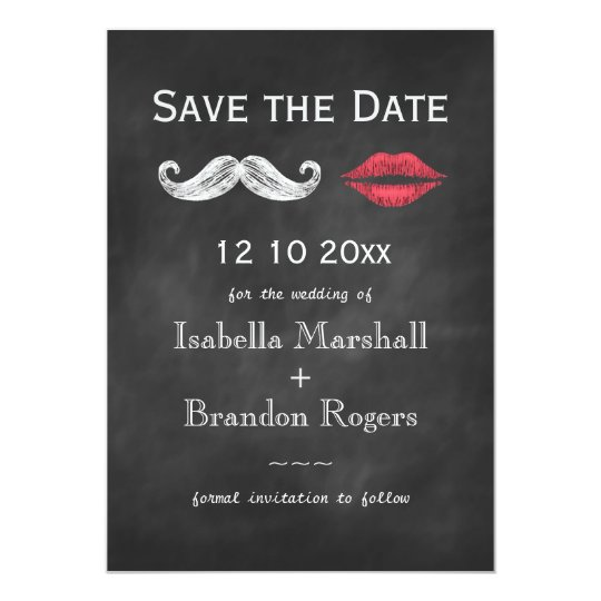 Moustache & Lips Save the Date Card
