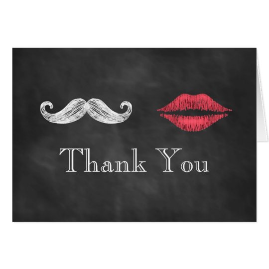 Moustache & Lips Thank You Card