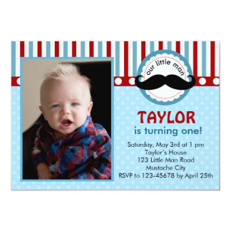 Moustache Little Man Birthday Invitation (Photo)