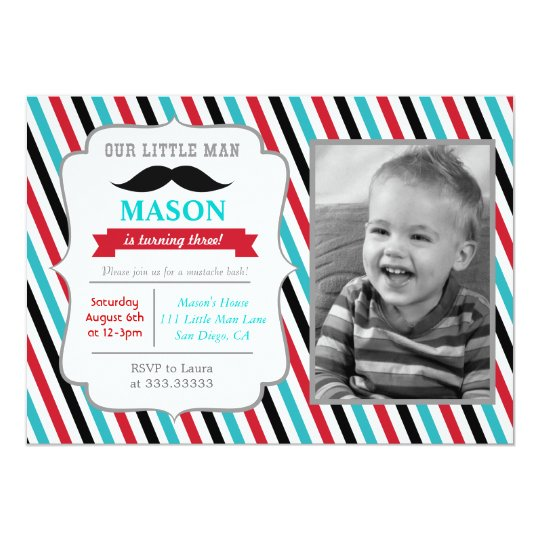 Moustache Little Man Birthday Party Invitations