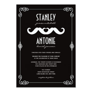 Moustache Love Classic Vintage Scrolls Gay Wedding Custom Announcement