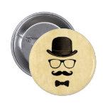 Moustache Man Pinback Buttons