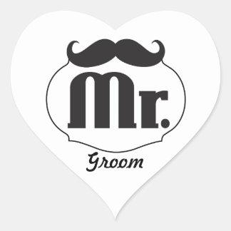 Moustache Mr. Just Married Heart Sticker