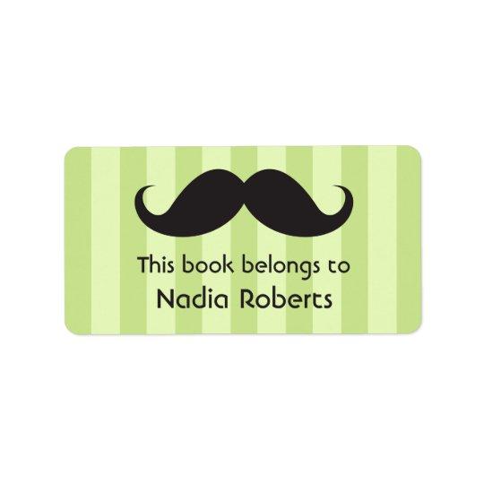 Moustache on green stripes bookplates / book label