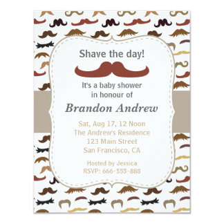 Moustache Pattern Boy Baby Shower Party Card