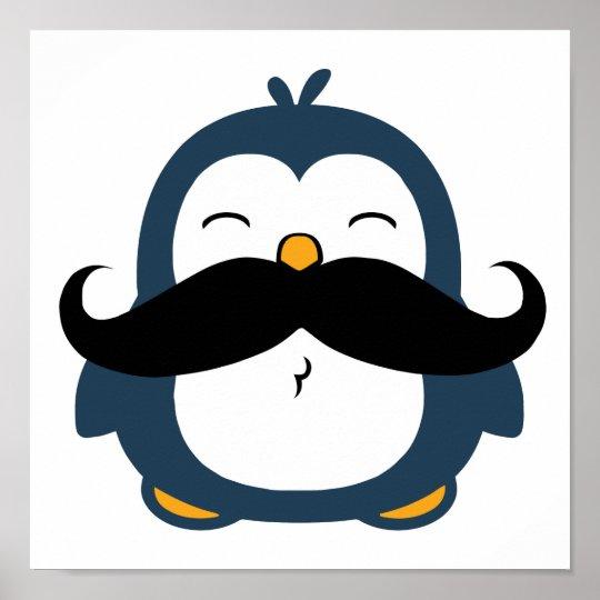 Moustache Penguin Trend Poster