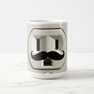 Moustache power outlet basic white mug