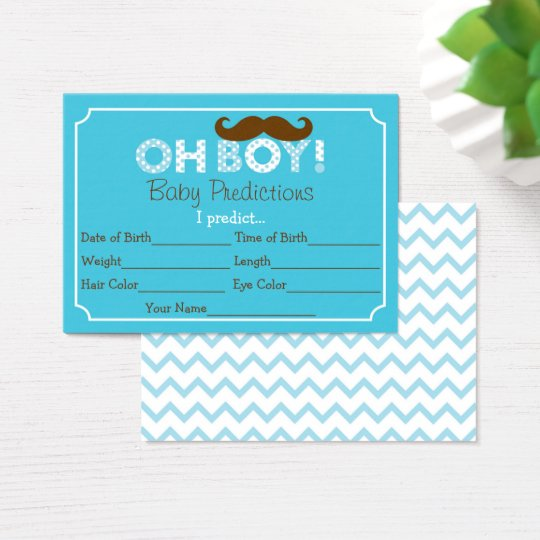 Moustache Predictions For Baby Game Business Card