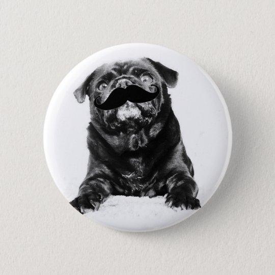 Moustache Pug 6 Cm Round Badge