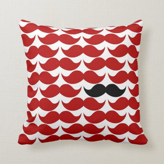 Moustache Red Retro Funky Pattern Cushion