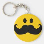 Moustache Smiley (Customisable background colour) Basic Round Button Key Ring