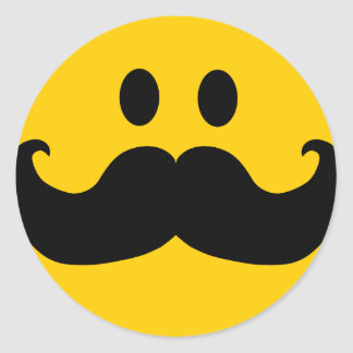 Moustache Smiley (Customisable background colour) Round Sticker