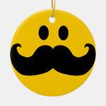 Moustache Smiley Round Ceramic Decoration