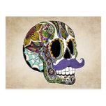 Moustache Sugar Skull Colour Postcard