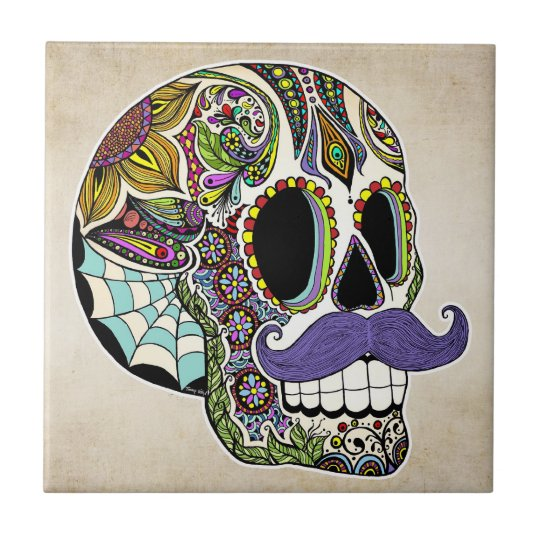 Moustache Sugar Skull (Colour) Tile