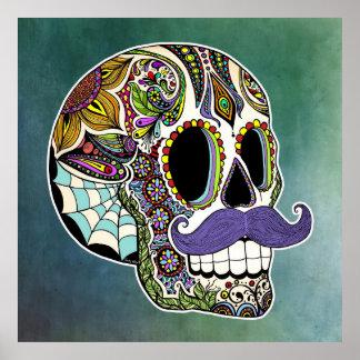 Moustache Sugar Skull Poster - Textured Background