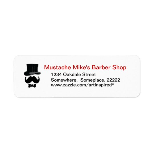 Moustache , top hat and bow tie label return address label