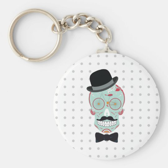 Moustache Top Hat Bicycle Sugar Skull keychain. Basic Round Button Key Ring