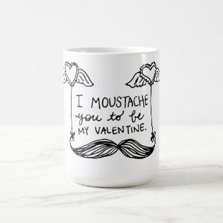 Moustache Valentine Basic White Mug