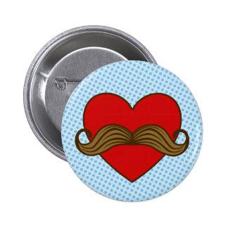 Moustache Valentine Heart Pinback Button