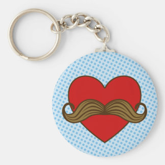 Moustache Valentine Heart Basic Round Button Key Ring