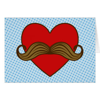Moustache Valentine Heart Greeting Card