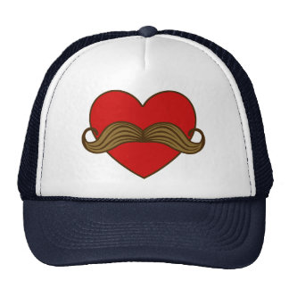 Moustache Valentine Heart Mesh Hat