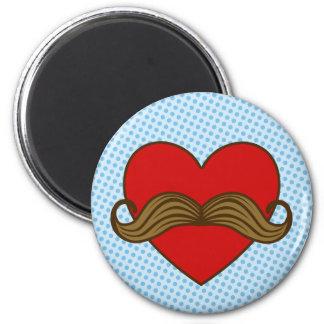Moustache Valentine Heart Magnet