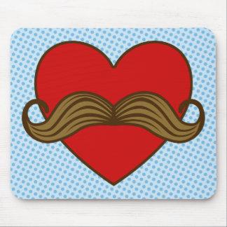 Moustache Valentine Heart Mouse Pad