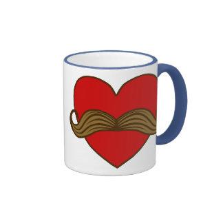Moustache Valentine Heart Mug