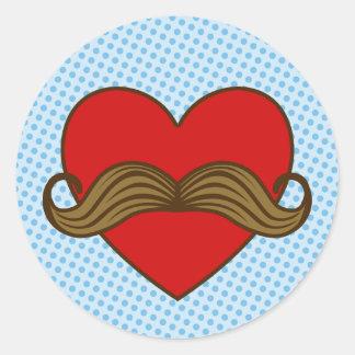 Moustache Valentine Heart Round Sticker