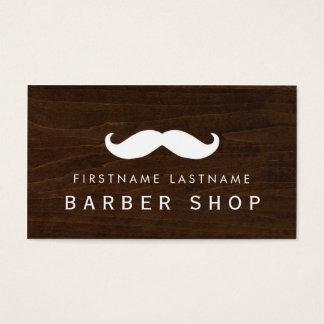 Moustache Woodgrain Barber Shop Business Card