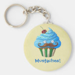 Moustached Cupcake Keychain