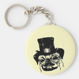 Moustached pug basic round button key ring