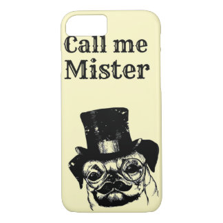 Moustached pug iPhone 7 case