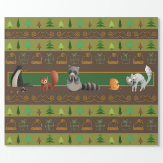 Moustaches in line! wrapping paper