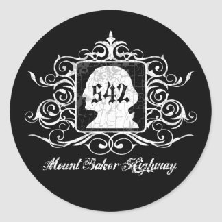 Mout Baker Highway -grungy Classic Round Sticker