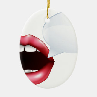 Mouth or lips talking ceramic oval decoration