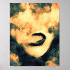 Mouth Smoke Vape Grunge Art Poster