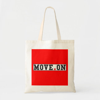 move on text message emotion red dot square budget tote bag