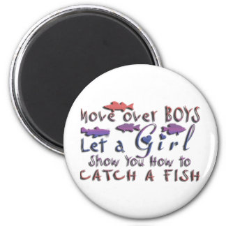 MOVE OVER BOYS GIRLS FISHING 6 CM ROUND MAGNET