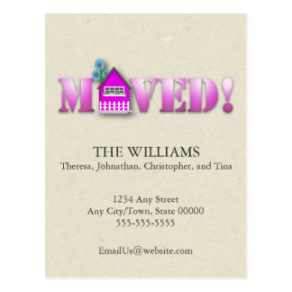 Moved Announcement (Purple) Postcard