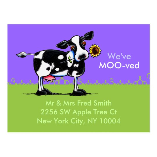 Moved Sunny Cow New Address Announcements Postcard