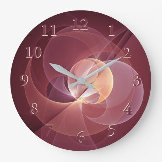 Movement Abstract Modern Wine Red Pink Fractal Art Large Clock