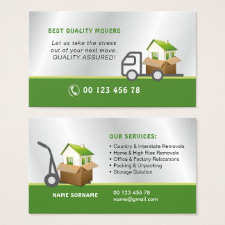 Movers, removals service business card