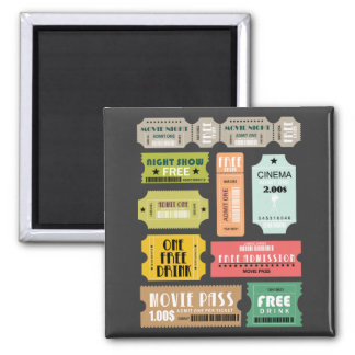 Movie Admission Tickets Square Magnet