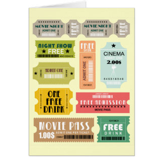 Movie Admission Tickets Note Card